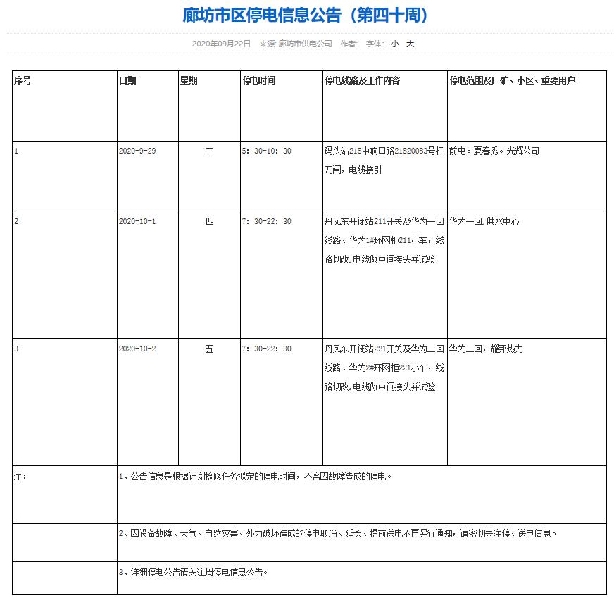 廊坊市区停电信息公告(第四十周)